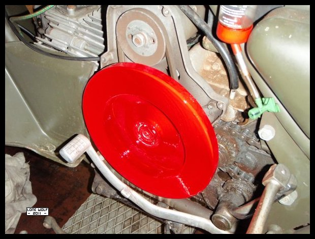 My flywheel is now as red as a baboon's bottom.